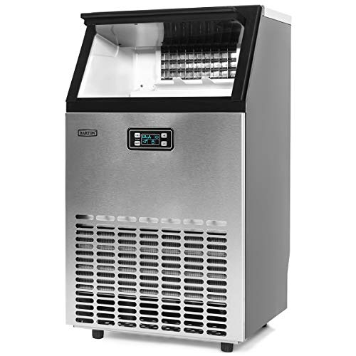 Barton Commercial Freestanding Built-in Under Counter Ice Maker Machine 99lbs/day, Ice Scoop and Connection Hoses Automatic Built In Ice Maker