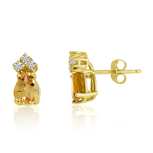 (1.30 Carat (ctw) 14k Yellow Gold Pear Yellow Citrine and Diamond Solitaire Stud Earrings with Post with Friction Back (7 x 5 MM))