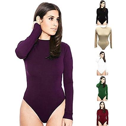 e73de47678 Image Unavailable. Image not available for. Color  WYHUI Autumn Sexy Women  Long Sleeve Shirt Jumpsuit Bodysuit Stretch Leotard Top Blouse T Shirt  Burgundy