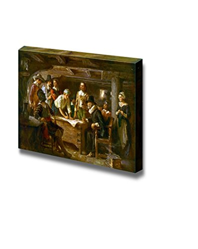 Wall26 - The Mayflower Compact by Jean Leon Gerome Ferris - Canvas Print Wall Art Famous Painting Reproduction - 12