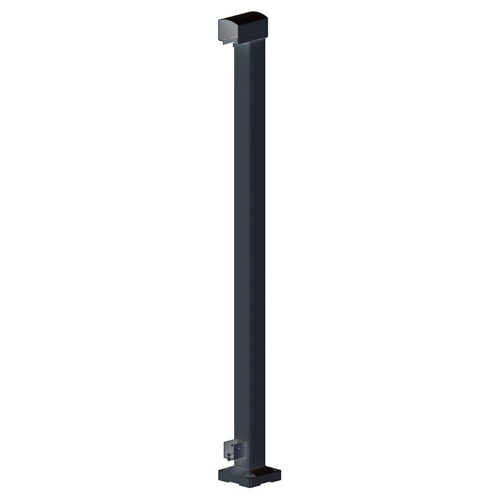 Peak Aluminum Railing 4 in. x 4-3/4 in. x 42 in. Black Aluminum End Post by Peak
