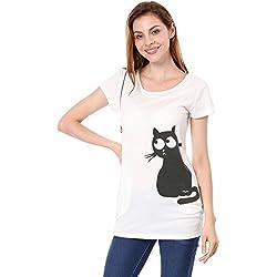 Allegra K Women's Round Neck Short Sleeve Cat Prints Loose Tunic Top XL White