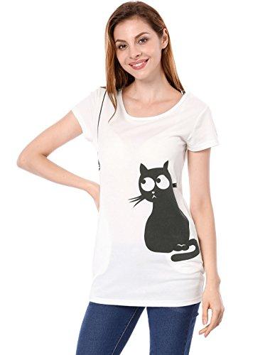 Allegra K Women's Round Neck Short Sleeve Cat Prints Loose Tunic Top S White ()