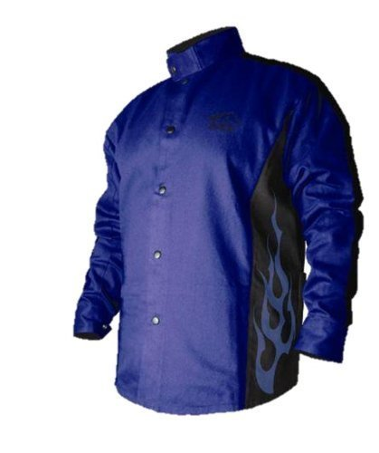2XL BSX Flame-Resistant Welding Jacket - Blue with Blue Flames