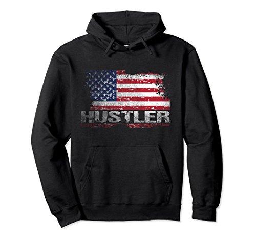Unisex USA Flag Hustler Hoodie, American Flag Hustle Hoodies Large - Sweatshirt Hustler