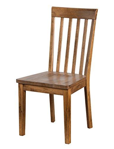 Oak Chair Back Slat (Sedona Slat Back Chair with Cushion Seat In Rustic Oak [Set of 2])