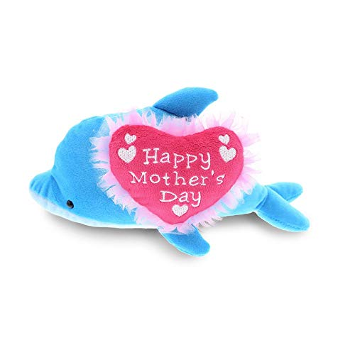 DolliBu Happy Mother's Day Stuffed Animal, Heart Message for Best Mommy, Grandma, Wife, Step Mom, Mama - Cute Soft Adorable Sentiment Plush Teddy Bear - Surprise Present Gift Arrangement - Dolphin