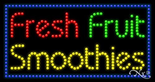Led Smoothies Sign - 17x32x1 inches Fresh Fruit Smoothies Animated Flashing LED Window Sign