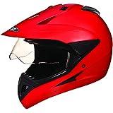 Studds Motocross Plain SUS_MVPFFH_MREDL Full Face Helmet with Plain Visor (Matt Red, L)