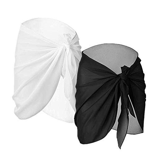 2 Pieces Women Swimwear Chiffon Pareo Beach Cover Up Bikini Sarong Swimsuit Wrap Skirts (Black and White, Short)