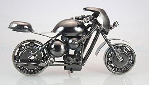 Metal sculpture – Retro Classic Handmade Iron Motorcycle unique metal art decor – home décor (7L,4H, Black Sport bike)