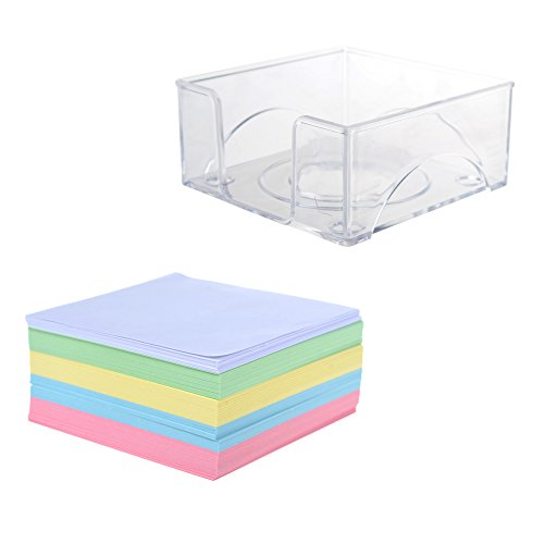 BCP Acrylic Notepad Paper Holder with 300 Sheets Notepad Paper/ Memo Paper Pads Acrylic Notepad