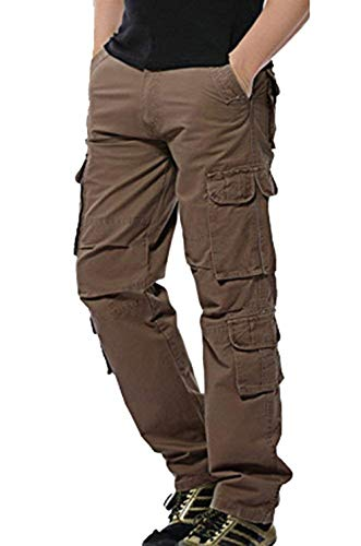 Pants Hommes Chinois Battercake Thin Cargo Kaffee Automne Fabric Printemps Décontracté Poches Long Confortable 1xx8qEw
