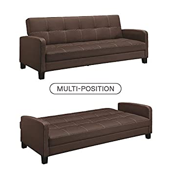 DHP Delaney Sofa Sleeper in Rich Faux Leather, Multifunctional, Brown