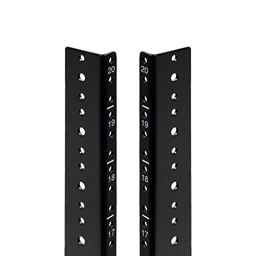 NavePoint 20U Vertical Rack Rail Pair DIY Kit with Hardware, Black