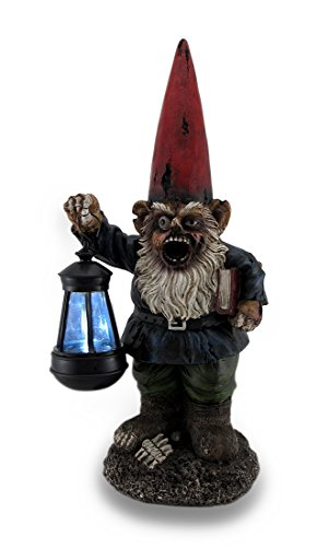 Walking Fred Zombie Gnome Solar Lantern Statue 17 in.