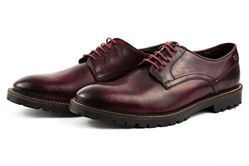 Base London - Zapatos de cordones de Piel Lisa para hombre 42 borgoña