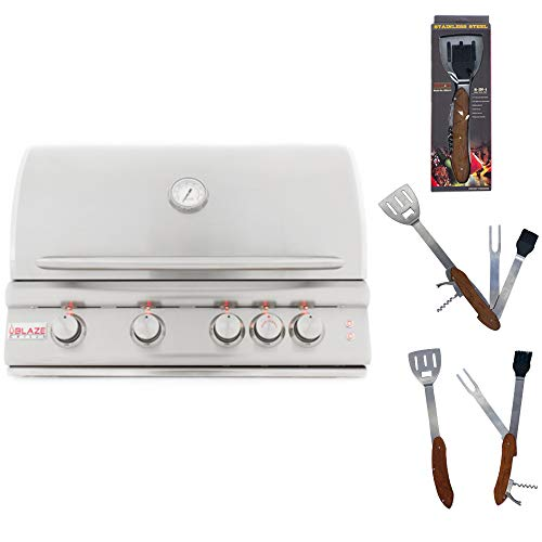 Blaze 32-Inch 4 Burner Propane Grill with Rear Burner and Built-in Lighting System BLZ-4LTE with Best of Backyard 5 in 1 BBQ Tool Set
