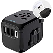 Universal Travel Adapter,International Power Adapter High Speed 5A 3 USB and Type-C Charger, All-in-one Worldwide AC…