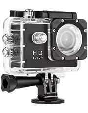 كاميرا اكشن رياضية مقاومة للماء عالية الدقة كاملة Full HD 1080 بيكسل 2 بوصة مسجل فيديو رقميDV DVR، كاميرا خوذة فيديو رقمي DV 120 درجة عدسة واسعة للدراجات والغوص والسباحة والتزلج من ستار، لون اسود