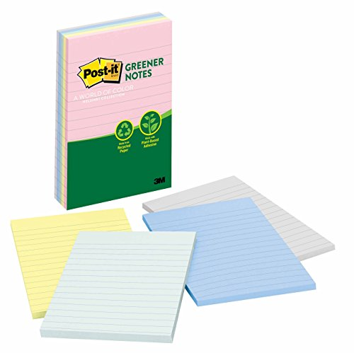 Post-it Greener Notes, 4 in x 6 in, Helsinki Collection, Lined, 5 Pads/Pack - Collection Ap