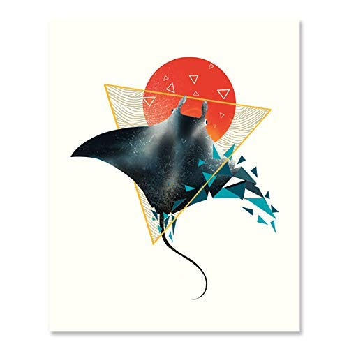 Geometric Stingray Art Print Colorful Ocean Life Sea Creature Wall Art Underwater Watercolor Stingray Fish Print Abstract Marine Nautical Tropical Theme Beach House Home Decor 8 x 10 Art Print -