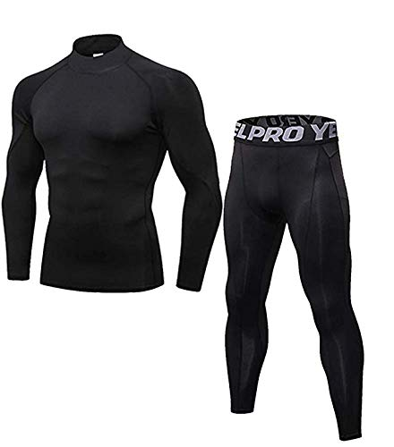 Mens Thermal Underwear Set Mock Neck Long Sleeve Compression Base Layer Tops and Bottom Skiing Running Black XL