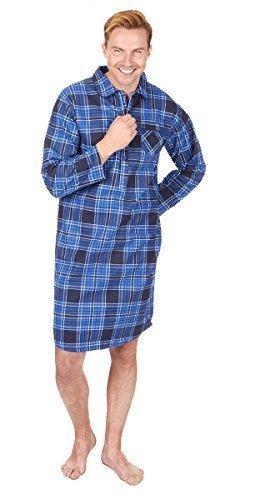 Bay Flannel Shirt - Cargo Bay Mens Check Stripe Print 100% Cotton Thermal Flannel Nightshirt (Large, Blue Check)