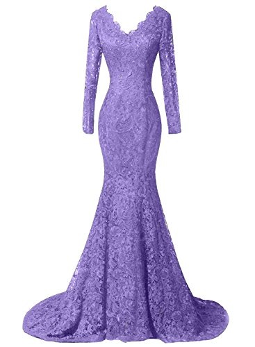 DKBridal Women's Long Sleeves Mermaid Lace Beaded Formal Prom Evening Dresses Party Gowns
