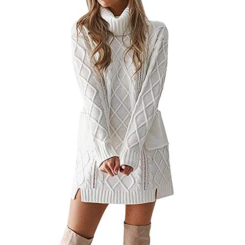 Howley Dress Women Winter Sweater Skirt Knit Turtleneck Warm Long Sleeve Pocket Sexy Mini Dress (White, XL)
