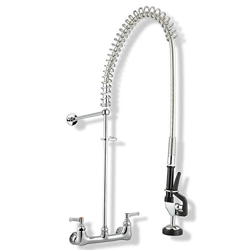 """Chrome Pre-Rinse Faucet Commercial Kitchen Heavy Duty Pull-Out Style w/ Spring Flexible Hose CUPC NSF ANSI 61 Certificated 12"""" Add-on Wall Mount Bracket"""