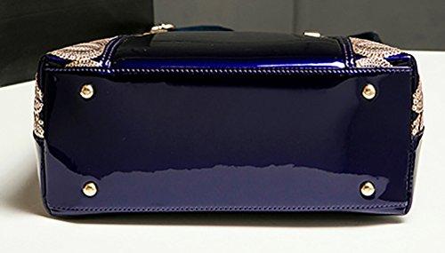 Flower Blue Fashion With Burgundy Himaleyaz Bag Handbag Sequin Women Bag Leather High grade Patent Tote Shoulder Zip fw6HFqp