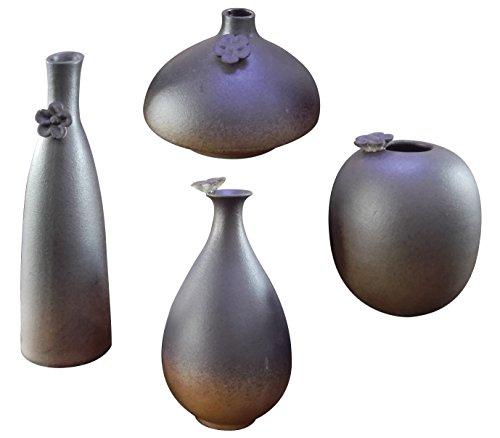 Hand Carved Ceramic - (Set of 4) HeHe Ceramic Vase , Mini Ceramic Flower Vase for Home Decoration, Wedding Centrepiece Table Décor & Restaurant , Hand-carved Vase - Grey