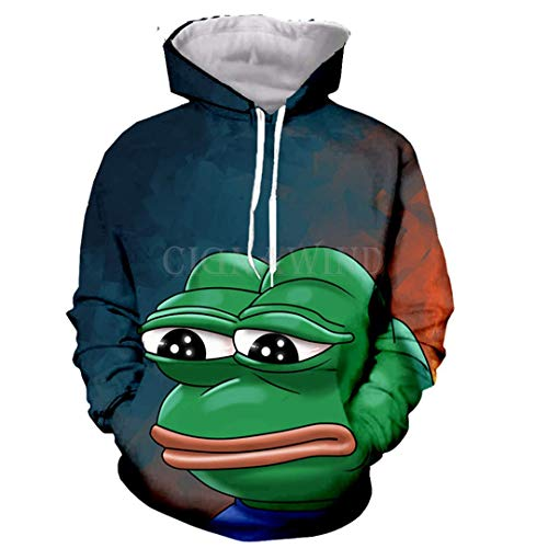 Men Women Casual Funny Cool 3D Print Cartoon Naughty Frog Pepe Hoodie Sweatshirt Autumn Winter Outdoor Sport Outwear Tops S