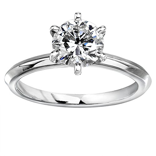 Moissanite Tiffany Solitaire - Forever One (D-F) Moissanite Solitaire Engagement Ring 1 1/2 CTW in 14k White Gold, Size 5