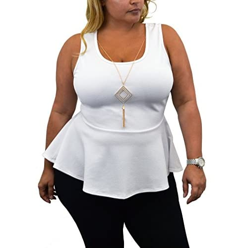 0c4947eee7 Urban Rose Womens Plus-Size Sleeveless Peplum Top with Necklace free  shipping