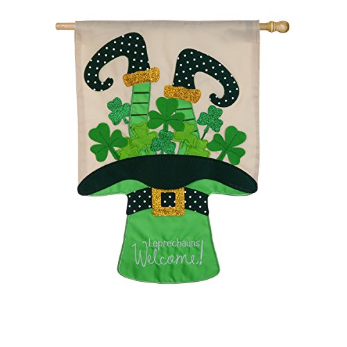 (Evergreen Leprechauns Welcome Applique House Flag, 28 x 44 inches)