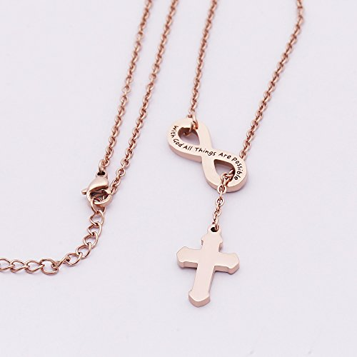 VISUNION Cross Infinity Pendant With God All Things are Possible Necklace (Rose gold) Inspirational Gifts for Women by VISUNION (Image #2)