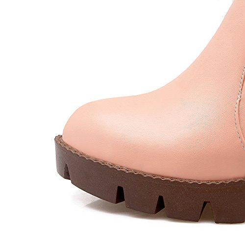 Puntera Caña Con Redonda Agoolar Tacón Material Rosa Mujeres Baja Hebilla Botas Medio Suave 5Sqv0S