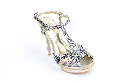 Falchi By Carlos Falchi Womens Open Toe Heels Size 7.5 US Medium (B, M) Gold Man