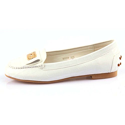 iloveflat Womens Ballet Flats Casual Soft Slip-On Loafer Shoes New 2 Colors White, Beige White