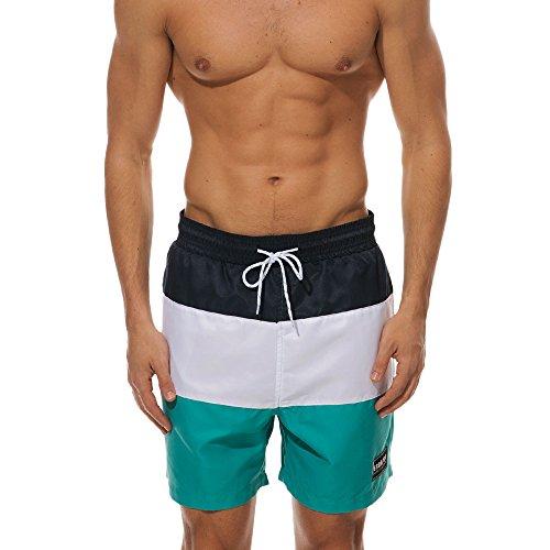 Men Summer Beach Shorts, JOYFEEL Bermudas Stripe Quick Dry Sports Shorts Elastic Drawstring Workout Gym Shorts Pants Green