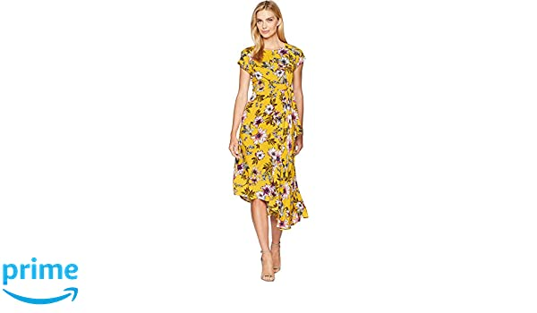 aac8eb2514c Donna Morgan Womens Midi Length Floral Dress Kimono Sleeve at Amazon ...