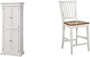 "Americana White Pantry by Home Styles & ITE & Distressed Oak bar Stool, 24"", by Home Styles"