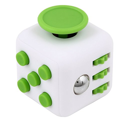 Fiddle Blox Fidget Cube Dice Toy - A Fun Way to Relieve Stress and Anxiety or ADHD for Children and Adults Anxiety Attention BEST QUALITY - USA SELLER (White with Green)