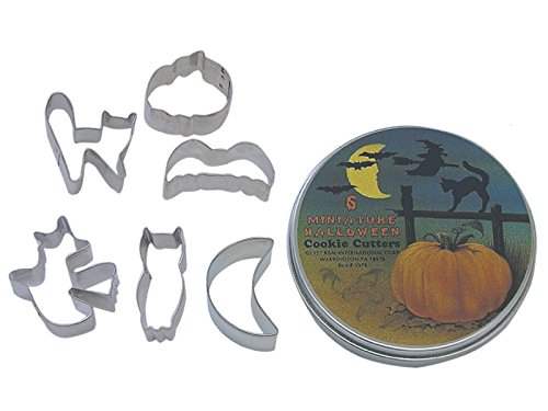 R&M International 1979 Mini Halloween Cookie Cutters, Bat, Pumpkin, Owl, Moon, Cat, Flying Witch, 6-Piece Set -