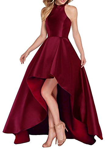 639b60761f62 Dannifore Burgundy Satin Halter High Low Evening Party Dress Sleeveless Prom  Dresses Size 6