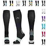 NEWZILL Men & Women's Compression Socks for Athletic, Nurses, Shin Splints, Maternity & Flight Travel, Black - Large (1 pair)