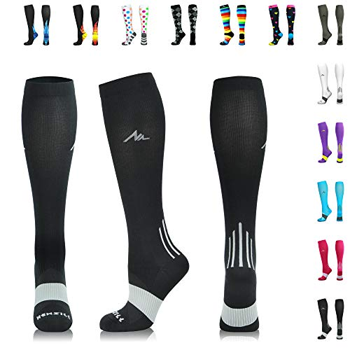 NEWZILL Men & Women's Compression Socks for Athletic, Nurses, Shin Splints, Maternity & Flight Travel, Black - Large (1 Pair) (Best Thing To Get Rid Of Poison Ivy)