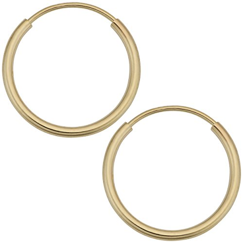 14k Yellow Gold 1mm Thick 12mm Round Tube Endless Hoop Earrings ()